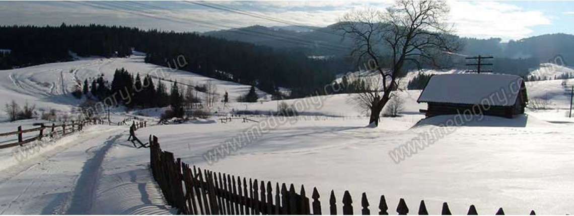 Зима в Карпатах. Вид на гору Бердо з села Тухолька.